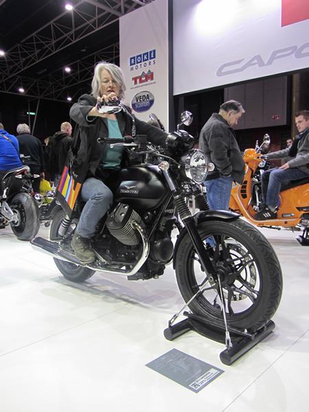 Sylvia on a motorbike