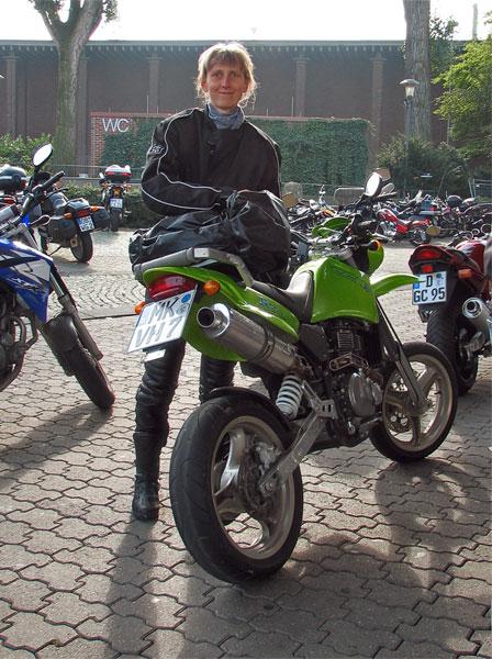 Green, lean motorcycle